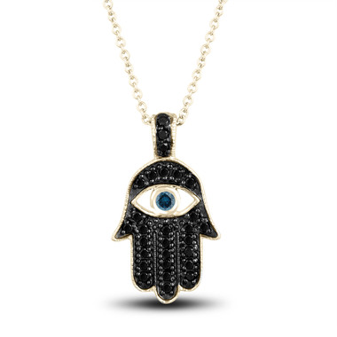 Fancy Black Diamond Hamsa Pendant Necklace Blue Diamond Eye 0.36 Carat 14K Yellow Gold Unique Handmade Pave Set