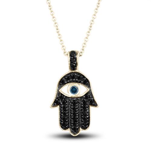 Fancy Black Diamond Hamsa Pendant Necklace Blue Diamond Eye 0.36 Carat 14K Yellow Gold Unique Handmade Pave Set
