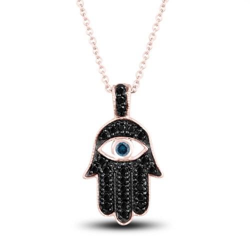 Black Diamond Hamsa Pendant Necklace Blue Diamond Eye 0.36 Carat 14K Rose Gold Unique Handmade Pave Set