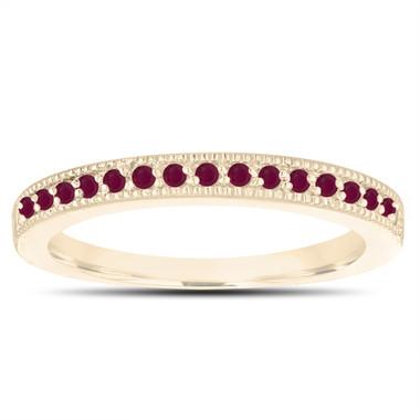 Ruby Wedding Band 18K Yellow Gold Half Eternity Anniversary Ring Handmade Stackable Birthstone Pave 0.16 Carat