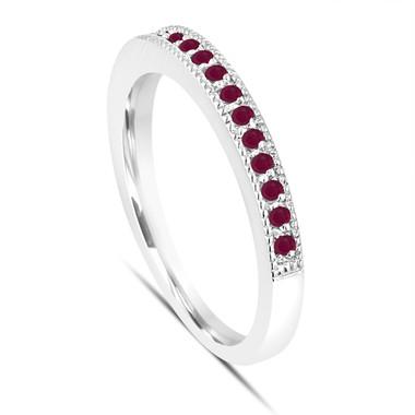 Platinum Ruby Wedding Band Half Eternity Anniversary Ring Handmade Stackable Birthstone Pave 0.16 Carat