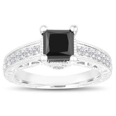 Unique Princess Cut Black Diamond Engagement Ring 1.65 Carat 14k White Gold Vintage Antique Style Certified Pave Set Handmade