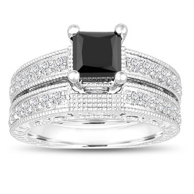 1.81 Carat Princess Cut Black Diamond Engagement Ring and Wedding Band Sets 14k White Gold Vintage Antique Style Unique Handmade