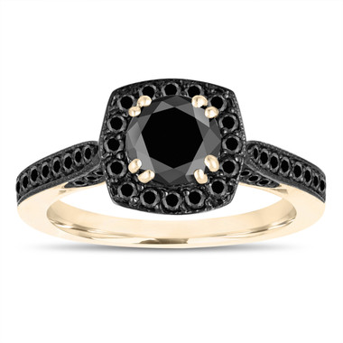 14k Yellow Gold Fancy Black Diamonds Engagement Ring 1.29 Carat Certified Halo Micro Pave Unique Handmade