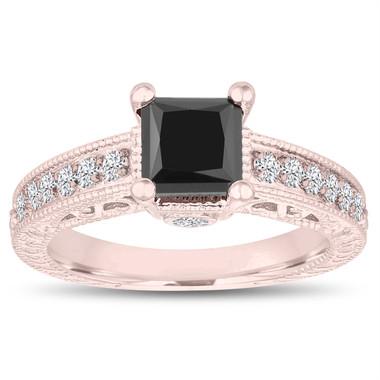 14k Rose Gold Princess Cut Fancy Black Diamond Engagement Ring Unique 1.55 Carat Vintage Antique Style Certified Pave Set Handmade