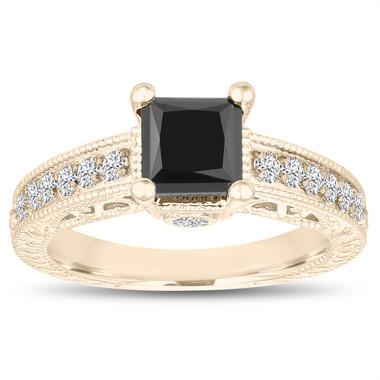 Unique Princess Cut Fancy Black Diamond Engagement Ring 1.55 Carat 14k Yellow Gold Vintage Antique Style Certified Pave Set Handmade