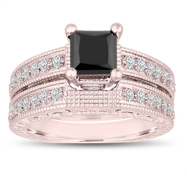 1.81 Carat Princess Cut Fancy Black Diamond Engagement Ring and Wedding Band Sets 14k Rose Gold Vintage Antique Style Unique Handmade