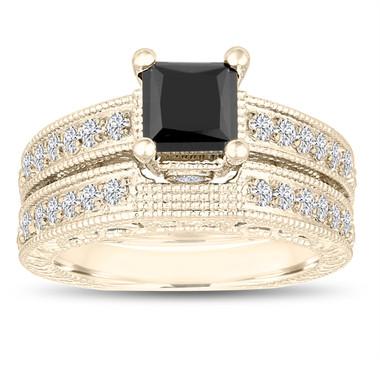 1.81 Carat Princess Cut Fancy Black Diamond Engagement Ring and Wedding Band Sets 14k Yellow Gold Vintage Antique Style Unique Handmade