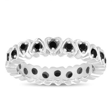 Fancy Black Diamond Eternity Wedding Band, Heart Love Eternity Ring, Anniversary Ring 14k White Gold 0.60 Carat Handmade