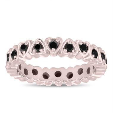 Fancy Black Diamond Eternity Wedding Ring, Heart Love Eternity Band, Anniversary Band 14k Rose Gold 0.60 Carat Handmade