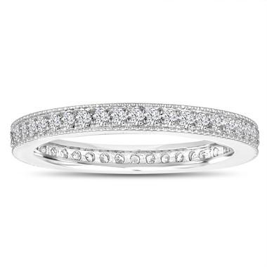 Diamond Eternity Wedding Band, Eternity Ring, Anniversary Ring Stackable Ring 14k White Gold 0.45 Carat Pave Milgrain Handmade