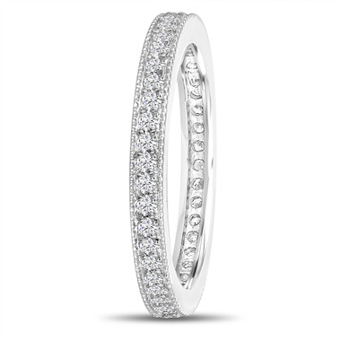 18k White Gold Diamond Eternity Wedding Band, Eternity Ring, Anniversary Ring Stackable Ring 0.45 Carat Pave Milgrain Handmade