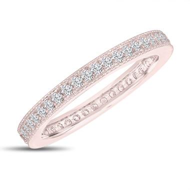 Diamond Eternity Wedding Band, Eternity Ring, Anniversary Ring Stackable Ring 14k Rose Gold 0.45 Carat Pave Milgrain Handmade