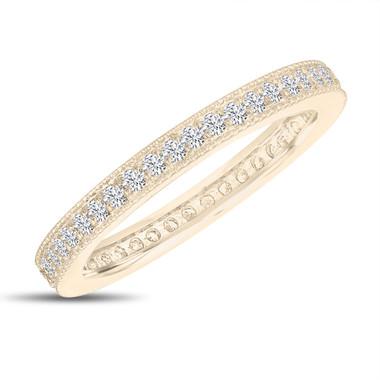 Diamond Eternity Wedding Band, Eternity Ring, Anniversary Ring Stackable Ring 14k Yellow Gold 0.45 Carat Pave Milgrain Handmade