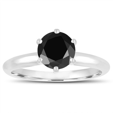 1.03 Carat Fancy Black Diamond Solitaire Engagement Ring 14K White Gold Certified Handmade 6 Prong