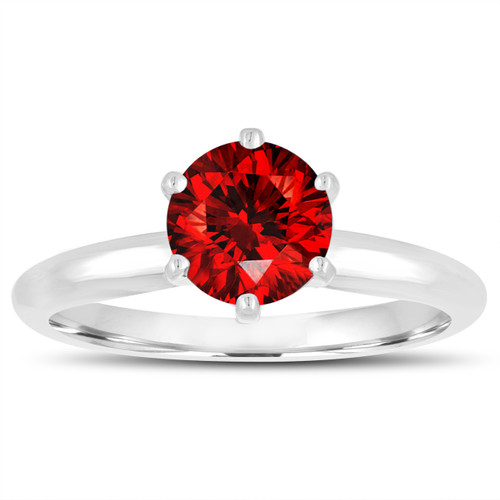 0.70 Carat Fancy Red Diamond Solitaire Engagement Ring 14K White Gold Certified Handmade 6 Prong