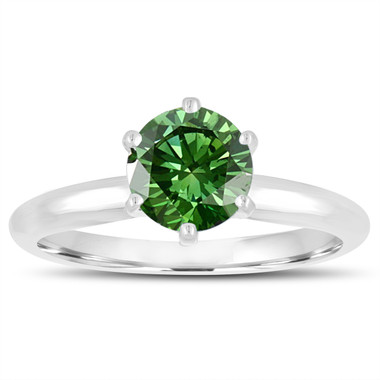 1.00 Carat Fancy Green Diamond Solitaire Engagement Ring 6 Prong 14K White Gold Handmade Certified