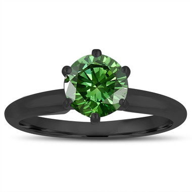 1.00 Carat Fancy Green Diamond Solitaire Engagement Ring 14K Black Gold Vintage Style Handmade Certified