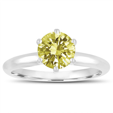 1.00 Carat Fancy Yellow Diamond Solitaire Engagement Ring 6 Prong 14K White Gold Handmade Certified