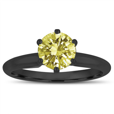 1.00 Carat Fancy Yellow Diamond Solitaire Engagement Ring 6 Prong 14K Black Gold Vintage Style Handmade Certified