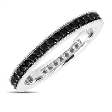 Fancy Black Diamond Eternity Wedding Band, Eternity Ring, Anniversary Ring Stackable Ring 14k White Gold 0.45 Carat Pave Milgrain Handmade