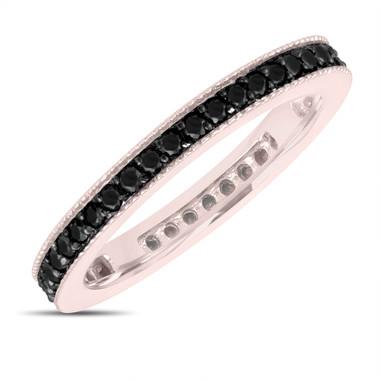 Fancy Black Diamond Eternity Wedding Band, Eternity Ring, Anniversary Ring Stackable Ring 14k Rose Gold 0.45 Carat Pave Milgrain Handmade