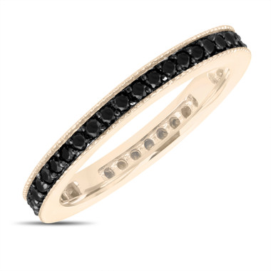 Black Diamond Eternity Wedding Band, Eternity Ring, Anniversary Ring Stackable Ring 14k Yellow Gold 0.45 Carat Pave Milgrain Handmade