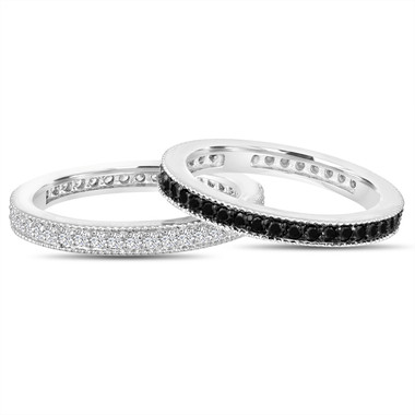 Fancy Black & White Diamond Eternity Wedding Bands, 2 Stackable Eternity Rings, Anniversary Ring 14k White Gold 0.90 Ct Pave Handmade