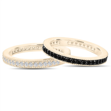 Fancy Black & White Diamond Eternity Wedding Bands, 2 Stackable Eternity Rings, Anniversary Ring 14k Yellow Gold 0.90 Ct Pave Handmade