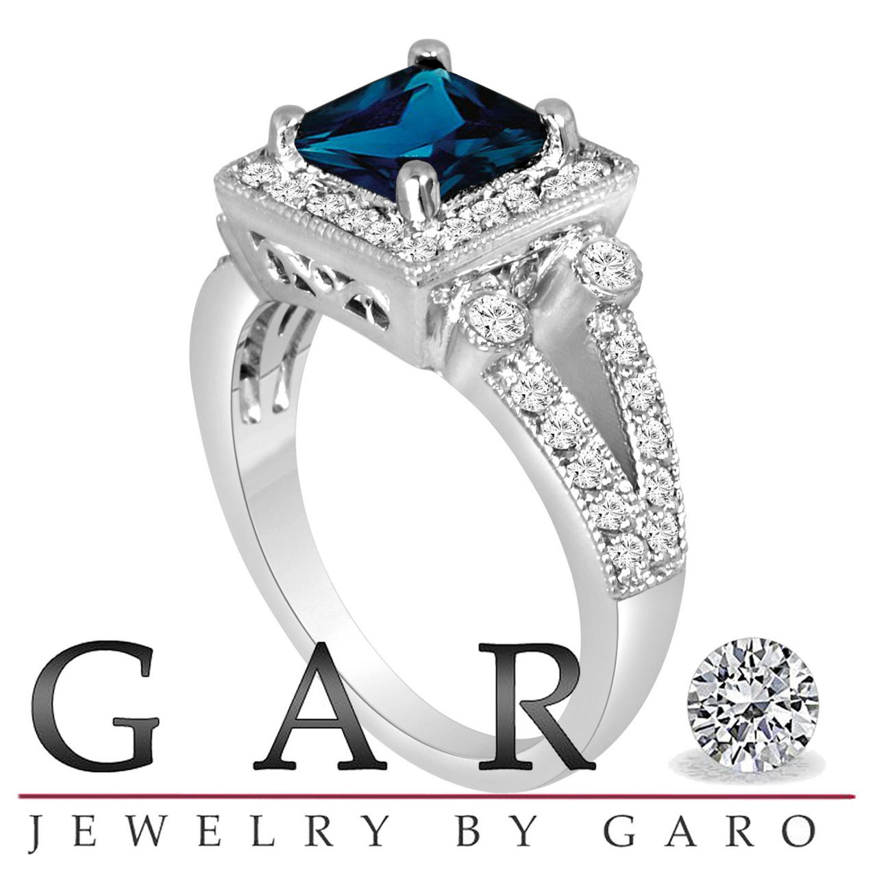 1.37 Ct Blue Topaz And Diamonds Ring 14k White Gold Natural With Latest Technology Engagement & Wedding Jewelry & Watches