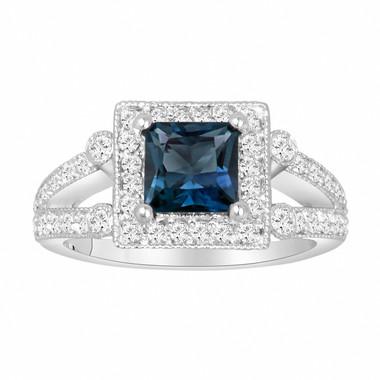 Princess Cut London Blue Topaz Engagement Ring 1.74 Carat Certified 14k White Gold Unique Halo Handmade