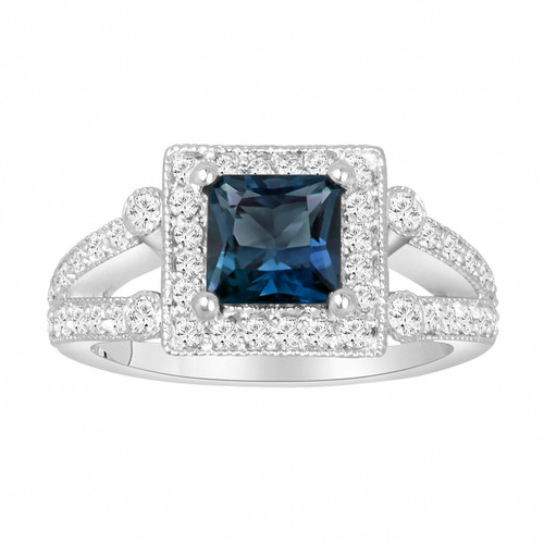 Princess Cut London Blue Topaz Engagement Ring 1.74 Carat Certified 14k White Gold Unique Halo Handmade