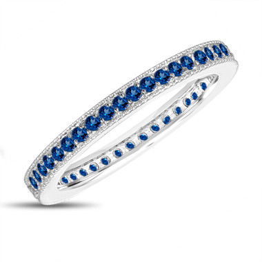 Blue Sapphire Eternity Wedding Band, Eternity Ring, Anniversary Ring Stackable Ring 14k White Gold 0.50 Carat Pave Milgrain Handmade