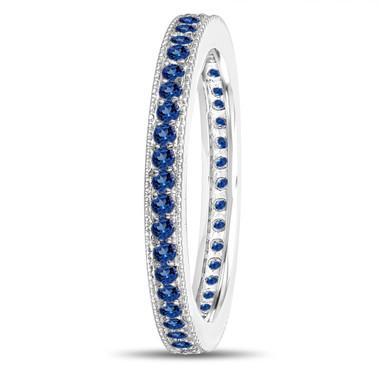 Platinum Sapphire Eternity Wedding Band, Eternity Ring, Anniversary Ring Stackable Ring 0.50 Carat Pave Milgrain Handmade