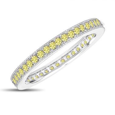 Yellow Sapphire Eternity Wedding Band, Eternity Ring, Anniversary Ring Stackable Ring 14k White Gold 0.50 Carat Pave Milgrain Handmade