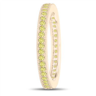 Yellow Sapphire Eternity Wedding Band, Eternity Ring, Anniversary Ring Stackable Ring 14k Yellow Gold 0.50 Carat Pave Milgrain Handmade