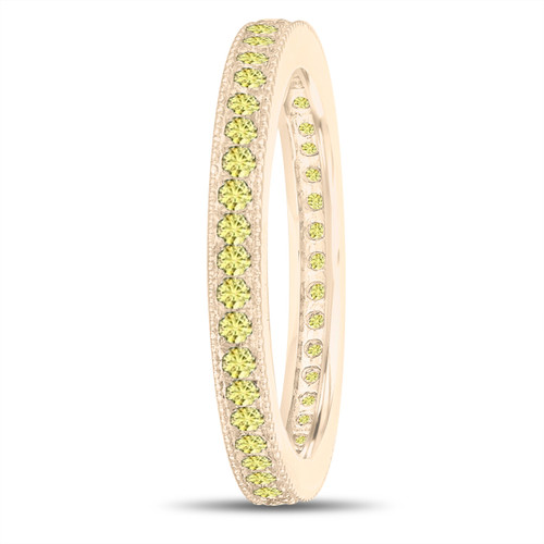 Yellow Sapphire Eternity Wedding Band, Eternity Ring, Anniversary Ring Stackable Ring 14k Yellow Gold 0.50 Carat Pave Milgrain Handmade