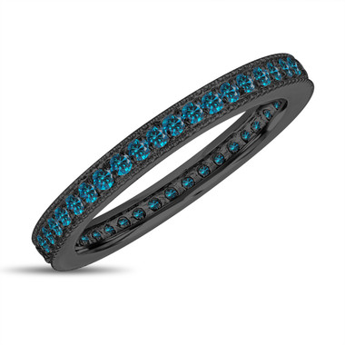 Eternity Fancy Blue Diamond Wedding Band, Eternity Ring, Anniversary Ring Stackable Ring 14k Black Gold Vintage Style 0.45 Carat Pave