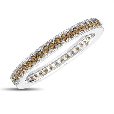 Fancy Champagne Brown Diamond Eternity Wedding Band, Eternity Ring, Anniversary Ring Stackable Ring 14k White Gold 0.45 Carat Pave Milgrain