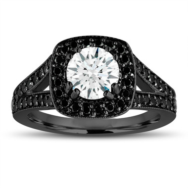 White Sapphire Engagement Ring 14K Black Gold Vintage Style 1.61 Carat With Fancy Black Diamonds Unique Halo Pave Handmade Certified