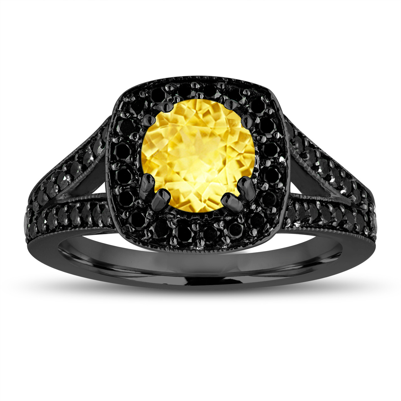 06ca7aca6fe8f Yellow Sapphire Engagement Ring 14K Black Gold Vintage Style 1.92 Carat  With Fancy Black Diamonds Unique Halo Pave Handmade Certified