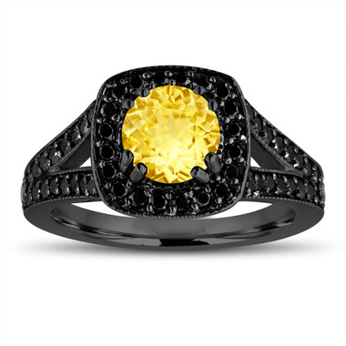 Yellow Sapphire Engagement Ring 14K Black Gold Vintage Style 1.92 Carat With Fancy Black Diamonds Unique Halo Pave Handmade Certified