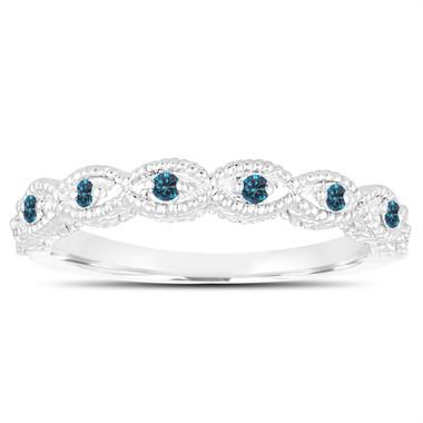 Fancy Blue Diamonds Wedding Band, Wedding Ring 14K White Gold Vintage Antique Style Engraved 0.10 Carat