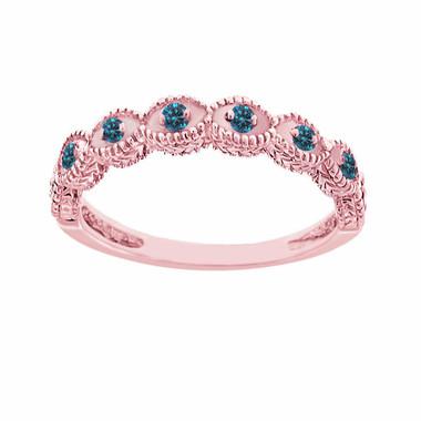 Fancy Blue Diamonds Wedding Band, Wedding Ring 14K Rose Gold Vintage Antique Style Engraved 0.10 Carat