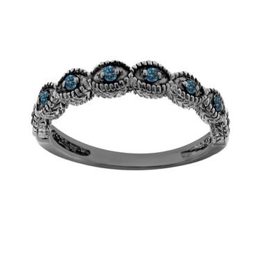 Fancy Blue Diamonds Wedding Band, Wedding Ring 14K Black Gold Vintage Antique Style Engraved 0.10 Carat