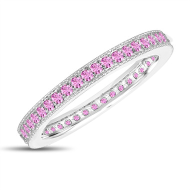 Pink Sapphire Eternity Wedding Band, Eternity Ring, Anniversary Ring Stackable Ring 14k White Gold 0.50 Carat Pave Milgrain Handmade