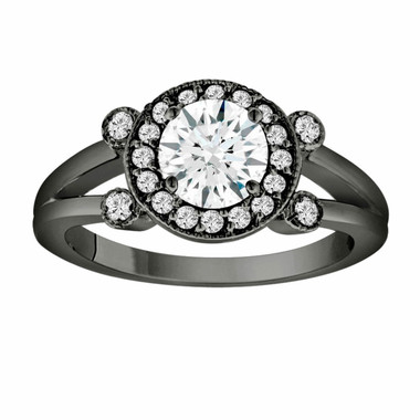 White Sapphire Engagement Ring 14K Black Gold Vintage Style 1.08 Carat With Side Diamonds Unique Halo Pave Handmade Certified
