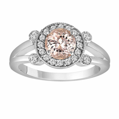 Pink Peach Morganite Engagement Ring 14K White Gold 1.03 Carat With Side Diamonds Unique Halo Pave Handmade Certified