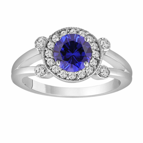 Blue Sapphire Engagement Ring 14K White Gold 1.12 Carat With Side Diamonds Unique Halo Pave Handmade Certified