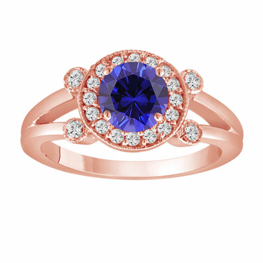 Blue Sapphire Engagement Ring 14K Rose Gold 1.12 Carat With Side Diamonds Unique Halo Pave Handmade Certified